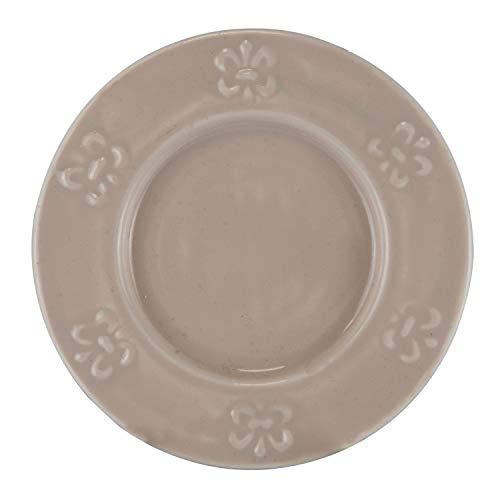 Plato de Pan en Metal esmaltado Decorado Flor de LYS, Color Topo. Medidas: 14,5 x 14,5 x 1 centímetros. Material: Metal (Referencia: 2781050)