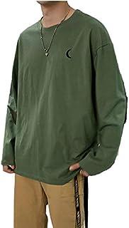 8カラー tシャツ 長袖 ロンt ロングTシャツ ワンポイント 刺繍 ユニセックス 丸首 春 メンズ シンプル M~XL