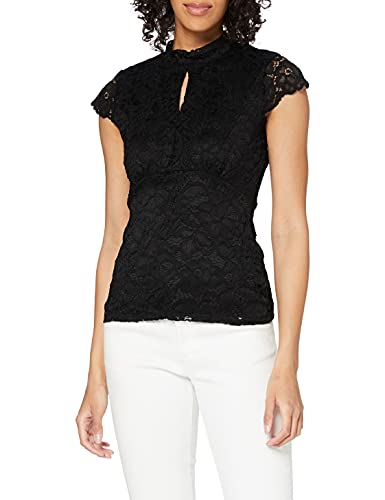 Morgan Women's Tshirt Dentelle DNEMA T-Shirt, Schwarz (Noir Noir), Medium (Herstellergröße: TM)