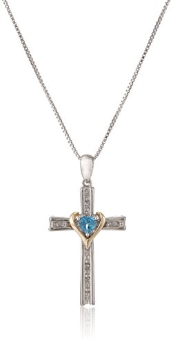 Sterling Silver and 14k Gold Blue Topaz and Diamond Cross My Heart Pendant Necklace, 18