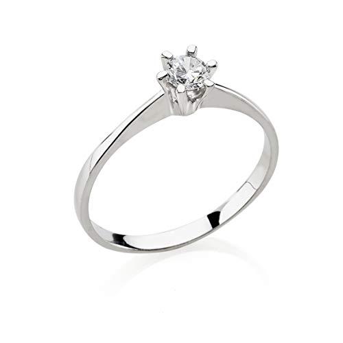 Bossoro Gioielli: anillo de mujer de plata de ley 925, solitario con circonita cúbica de corte brillante
