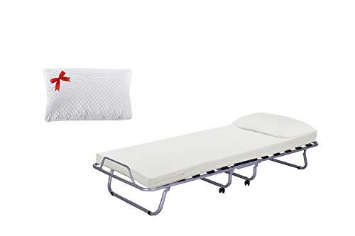 Brandina pieghevole luxory farmarelax 80x190 cm, 13 doghe in legno con materasso h7 + guanciale memory in omaggio, ortopedica, rete singola, salva spazio, rotelle,