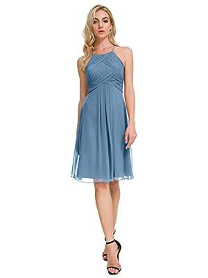 Alicepub Halter Chiffon Bridesmaid Dress Short Cocktail Formal Dresses for Women Party, Dusty Blue, US8