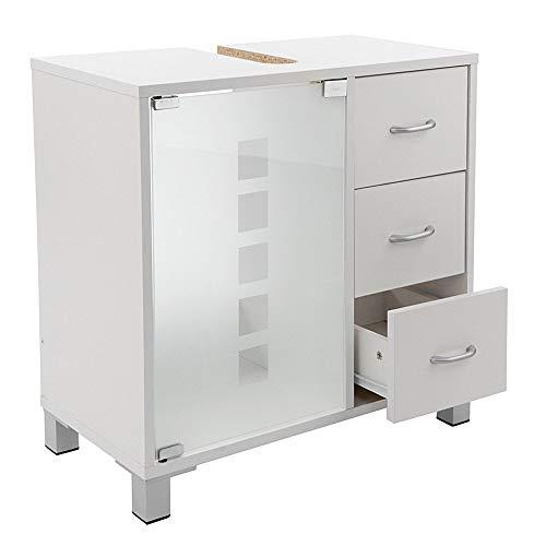 Limal–Mobile sottolavabo con 3cassetti in Legno Bianco, 30x 60x 56cm | Porta in Vetro | Notebook Parete Posteriore | Foro per sifone |