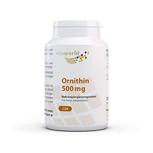L-Ornitina 500mg 120 Cápsulas Vita World Farmacia Alemania - L-Ornithina - Masa Muscular -