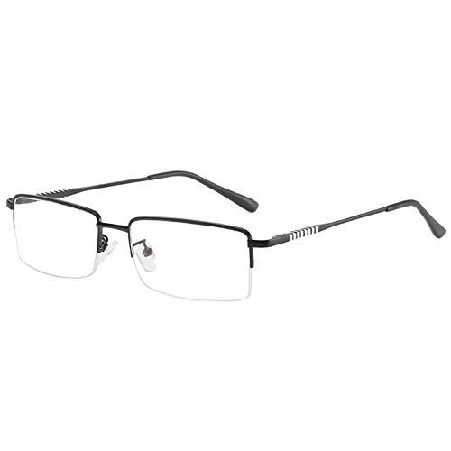 EYEphd Gafas Lectura con Zoom Inteligente de Doble Enfoque Anti-luz Azul, Lector de Marco de Metal con Lente de Resina asférica Adecuado para Oficina/Costura dioptría +1.0 a +3.0,Negro,+1.0