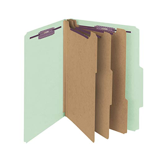 """Smead Pressboard Classification File Folder with SafeSHIELD Fasteners, 3 Dividers, 3"""" Expansion, Letter Size, Gray/Green, 10 per Box (14091)"""