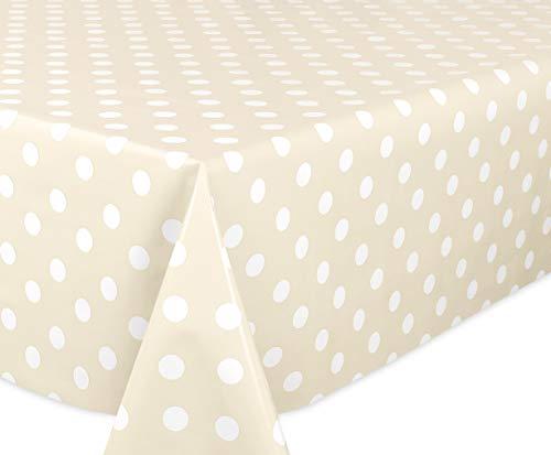 Beautex - Mantel de hule con lunares, liso, lavable, redondo, ovalado, rectangular, tamaño a elegir, ideal para jardín, color beis