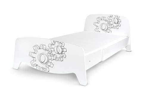 Leomark Enkelsäng med spjälskydd – Sophia – träsäng utdragbar till 90 x 200 (3 storleker), justerbar säng för barn och vuxna (madrass 200/90 cm ingår) (växellåda)