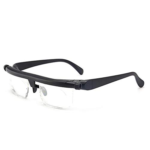 Mouhcao Leichte verstellbare Lesebrille Myopiebrille -6D bis + 3D Dioptrien Black & Clear