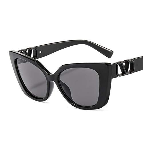 UKKD Gafas de sol de ojo de gato de moda mujeres hombres leopardo vaca color tendencia pc lente metal pc marco playa sol gafas