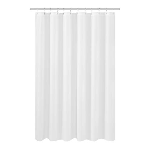 N&Y HOME Longer Shower Curtain Liner Fabric 72 x 75 inches, Hotel Quality, Washable, White Spa Bathroom Curtains with Grommets, 72x75