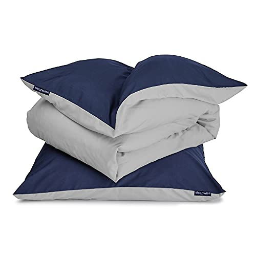 Sleepwise Bettbezug-Set (135x200) grau 2teilig, ÖKO-Tex, Kuschelige, Bettwäsche Mikrofaser, Atmungsaktiv Bügelfrei Pflegeleicht Hypoallergen