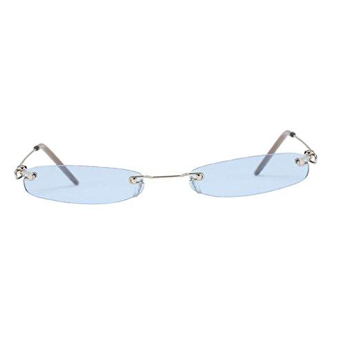 Oshhni Unisex Fashion Lens Small UV400 Diseñador de Gafas de Sol de Plástico - Azul