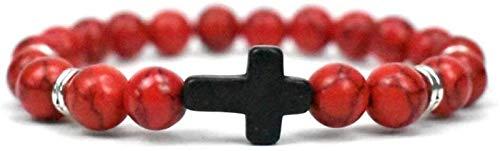 AnimeFiG Pulsera de Piedra Mujer, 7 Chakra Piedra Natural Brazalete Rojo Brazalete Turquesa Pulsera Elástica Yoga Cruz Negro Lucky Moda Joyería para Damas