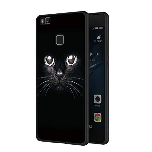 ZhuoFan Cover Huawei P9 Lite, Custodia Cover Silicone Nero con Disegni Ultra Slim TPU Morbido Antiurto 3d Cartoon Bumper Case Protettiva per Huawei P9 Lite Smartphone (Gatto Nero)