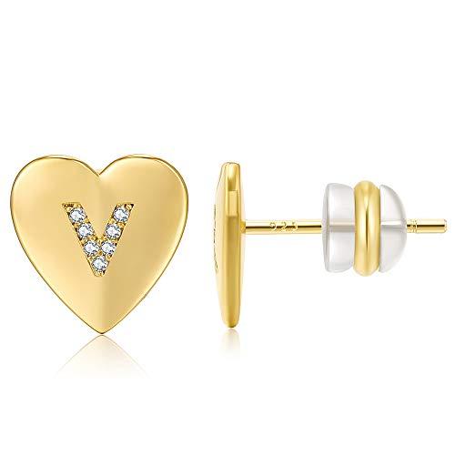 AoedeJ - Orecchini a perno placcati in oro 14 K, a forma di cuore, per ragazze, donne, in argento Sterling 925, con lettera iniziale dell'alfabeto, regalo di San Valentino (V)