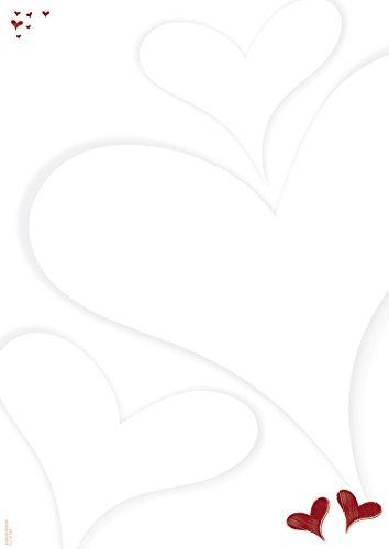 Briefpapier Herzlich, 50 Blatt DIN A4, 90 g/m², DP896, Schreibpapier, Designpapier, Romantisch, Liebe, Herz, Hochzeit, Verlobung, Gutschein, Einladung, Jubiläum, Hochzeitstag