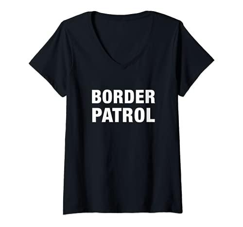 Mujer Agente de Patrulla Fronteriza Disfraz de Halloween Oficial de Inmigracin de EE.UU Camiseta Cuello V
