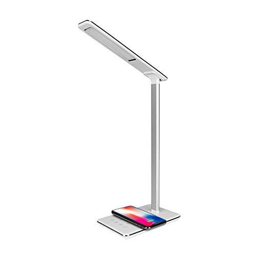 Dyna-Living Lampe de Bureau LED, Lampe de Table, Lampe Bureau avec Chargeur Sans Fil et Port USB pour Smartphone (Blanc)