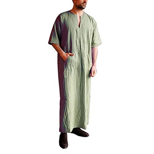 Muslim Islamic Män Robe - Linne Loungewear V-hals Kortärmad Badrockar Nattklänningskjorta med fickor, långklänning Casual shirt för strand, sommar (Color : M, Size : Green)