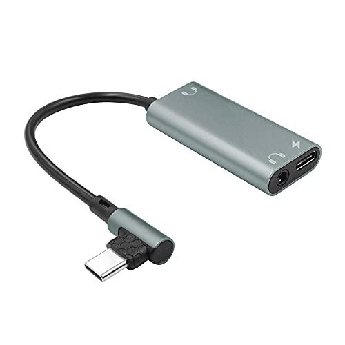 Cable Adaptador 3 en 1 USB-C PD, Conector portátil de 3,5 mm para Auriculares Dobles, Interfaz Tipo C, convertidor USB Tipo C DAC para transmisión de Datos de Audio
