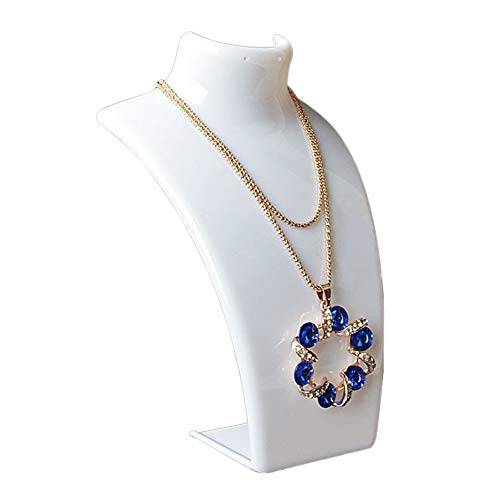 farawamu Jewelry Stand, Mannequin Necklace Jewelry Pendant Display Stand Holder Neck Model Show Shelf White