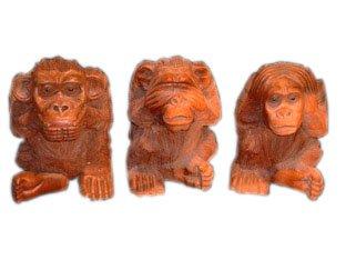 Unbekannt Die DREI weisen Affen, im Set Affen der Weisheit Geschenkidee Holzfigur