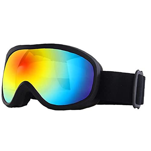 Sanfiyya Doble Capa Colorido Invierno Lente de Gafas de esquí antiniebla Snowboard Gafas Gafas de protección UV contra la Niebla Nieve Gafas Hombres Mujeres Negro
