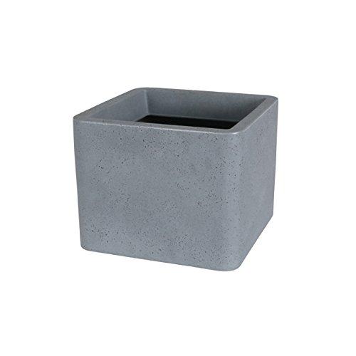 greemotion Pot de fleur carré Lea 29x29 cm - Jardinière grise en plastique avec effet ciment - Pot de fleur extérieur - Bac à fleur grande taille décoratif et robuste - Pot de plante design