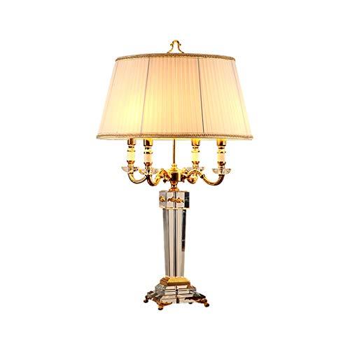Lámparas de mesa de noche Gran lámpara de mesa de estilo europeo Tela arrugada blanca Lámpara de mesa de cristal Base de cristal Diseño de vela, Adecuado for dormitorio / Sala de estar / Hotel Lámpara