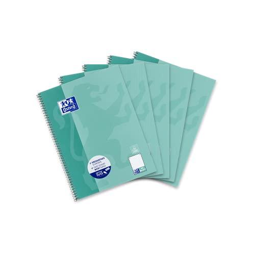 Oxford 400155143 Schule Collegeblock A4, dotted, 80 Blatt, grünblau, 5er Pack
