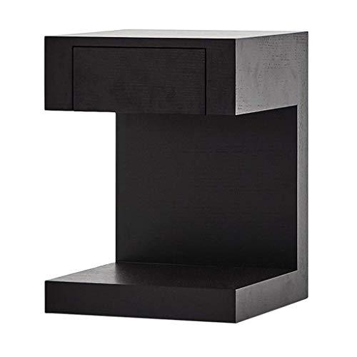 Moderna möbler soffbord sidobord soffbord, nordiska trä ek ändbord svart hörnet bord soffa skåp skåp med låda sovrum vardagsrum sängbord, 404054cm E