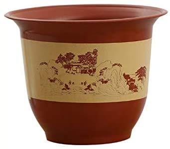 Pkfinrd Tuin Bloem Potten Dikke Kunststof Imitatie Keramische Hars Potten Bloem Pot Landschap Water Pot Thuis Balkon Bonsai Rose Fruit Boom Bloem Pot Plant Containers & Accessoires (Maat: 1L)