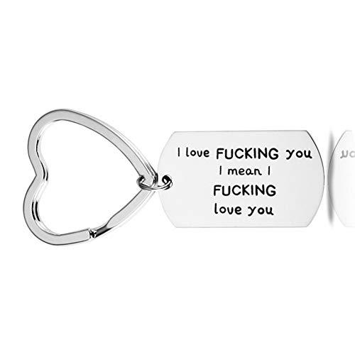 I love Fucking You I Mean I Fucking love You Key Chain Dog Tag Charm Pendant Couples Love Gifts for Boyfriend Girlfriend Husband Wife