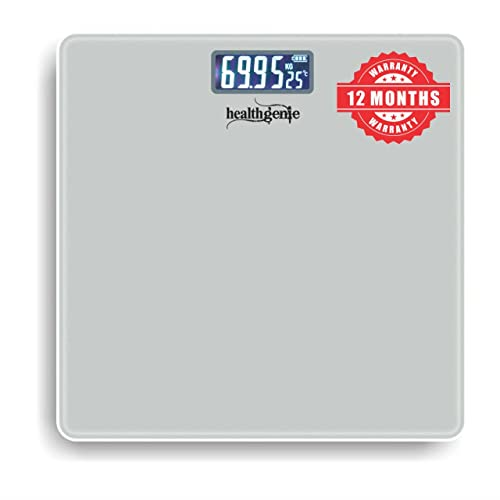 Healthgenie Thick Tempered Glass Lcd Display Digital Weighing Machine , Weight Machine For Human Body Digital Weighing Scale, Weight Scale, with 1 Year Warranty (Silver).