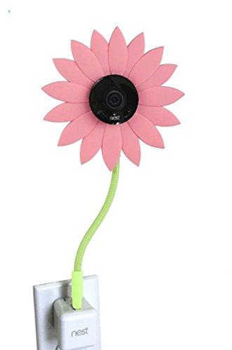 Soporte de pared flexible para cámara de fotos de Nest Cam, 360 grados, toma de corriente alterna, con protección antiestrés, decoración de flor solar, color verde