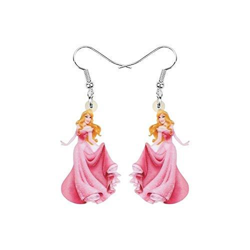 Pendientes de gota con diseño de princesa Aurora rosa con dibujos animados de la princesa durmiendo