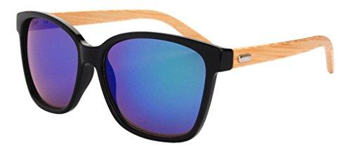FENGJI da uomo con cerniera in metallo con braccioli in legno di bambù, Occhiali da sole Blu Color 6