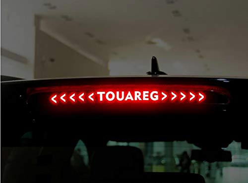 NTUOO 1Pcs Carbon Fiber Car Sticker Bremslicht, für Volkswagen VW Touareg 2011-2017 Kofferraum High Mount Bremsleuchte Leuchtende Aufkleber, Auto Styling Zubehör