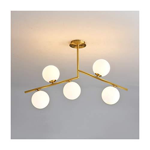Z Innenleuchten Pendelleuchte, Modern Minimalist Lampe Esszimmer Wohnzimmer Komplette Kupfer-Schlafzimmer-Lampe Nordic Magic Bean Molecular Pendelleuchte (Color : B)