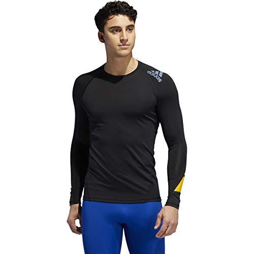 adidas Alphaskin Sport - Camiseta de manga larga para hombre, color negro, amarillo y gris, talla grande