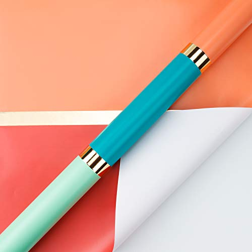 RUSPEPA Wrapping Paper Roll - Gold Foil Stripe Mint Green Colour - blocking Design for Wedding, Birthday, Shower, Congrats, and Holiday - 30 inches x 32.8 feet
