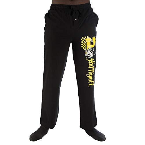 Bioworld Harry Potter H Hufflepuff Logo Print Men's Loungewear Lounge Pants Large Black