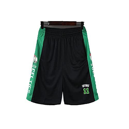 ERPA Pantalones cortos de baloncesto de talla 11 # Cěltics, transpirables y de secado rápido, pantalones cortos de entrenamiento, gimnasio, correr, verano, calle, color negro