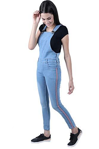 Broadstar Women's Denim Skinny Fit Dungaree (Ice, 30)