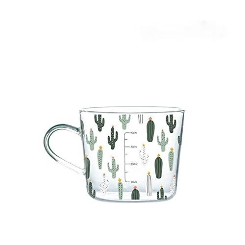 Taza de agua INS 500ml High Boron Silicon Copa de cristal con escala Tazas de desayuno Tazas Tazas de café Taza de cristal Taza de agua Taza de agua ( Capacity : 401 500ml , Color : Hot forest glass )