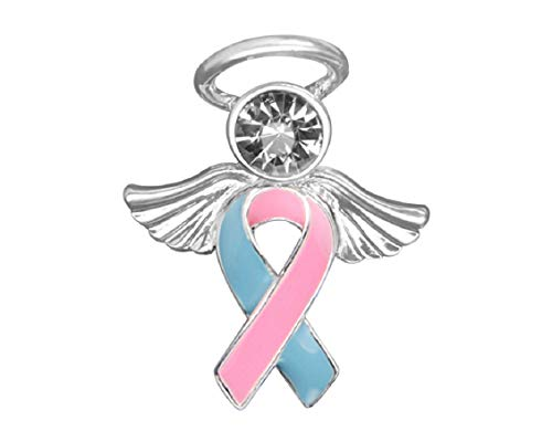 Fundraising For A Cause   Pink & Blue Ribbon Angel Pins – Pink & Blue Ribbon Pins for Birth Defects Awareness, SIDS Awareness, Male Breast Cancer, Infant Loss, Fundraising & Gift Giving (25 Pins)