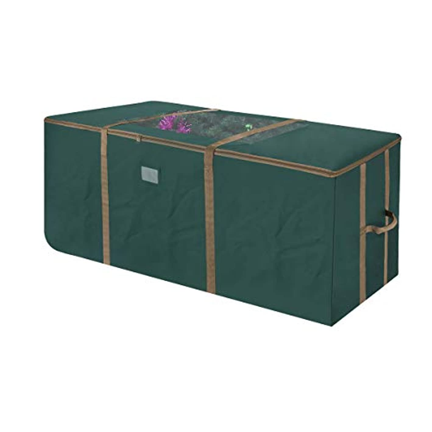 Elf Stor 83-DT5171 Rolling Duffel Style Christmas Storage Bag with Window for 12 Foot Tree   Green