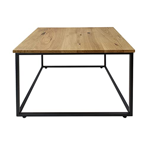 1 x Natural Goods Berlin – Mesa auxiliar de metal y madera   Sofá mesa de café moderno sillón portátil cubo   Diseño industrial   Mesita de noche Loft (con tablero de madera de roble, negro).